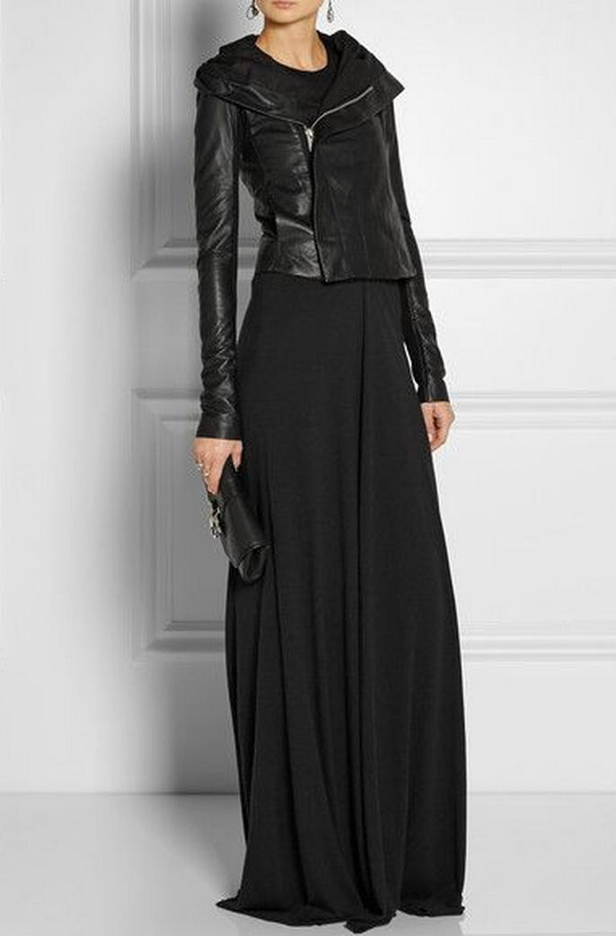 leather jacket and a maxi skirt momomod modest style
